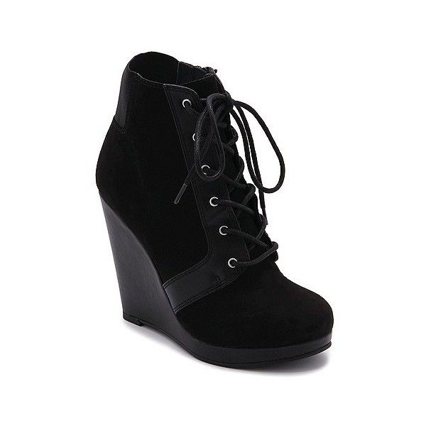 Women's Revel Wendi Booties - Black (275 NOK) ❤ liked on Polyvore featuring shoes, boots, ankle booties, black, black lace up boots, lace up bootie, lace up boots, wedge booties and wedge ankle boots