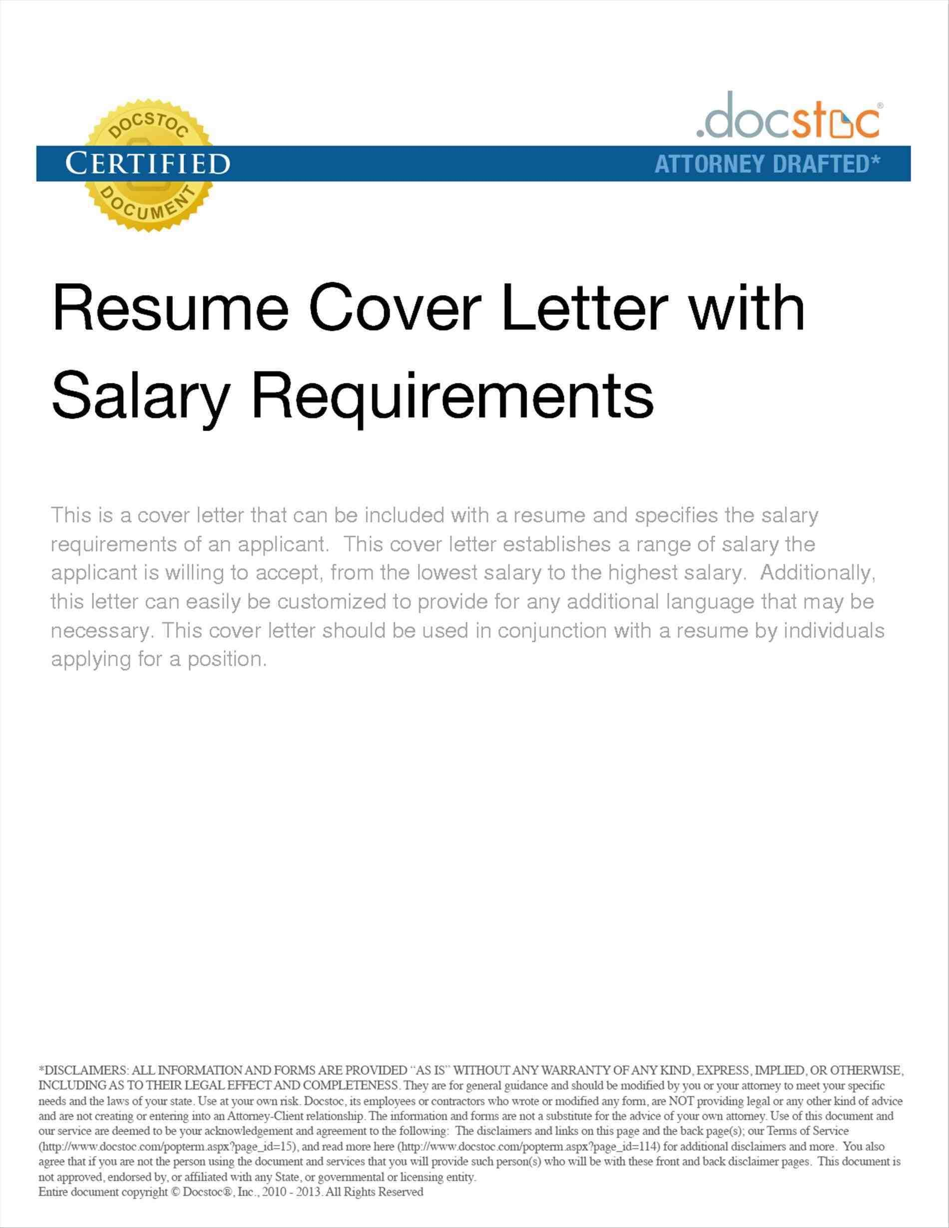 sample cover letters with salary requirements