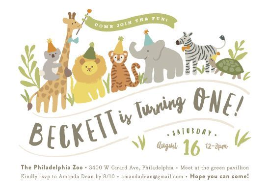 birthday party invitations Animals on parade by Jennifer Wick