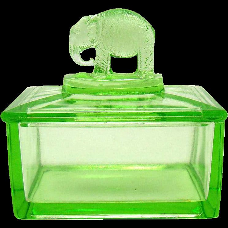 Uranium Glass Dresser Dish with Elephant Lid
