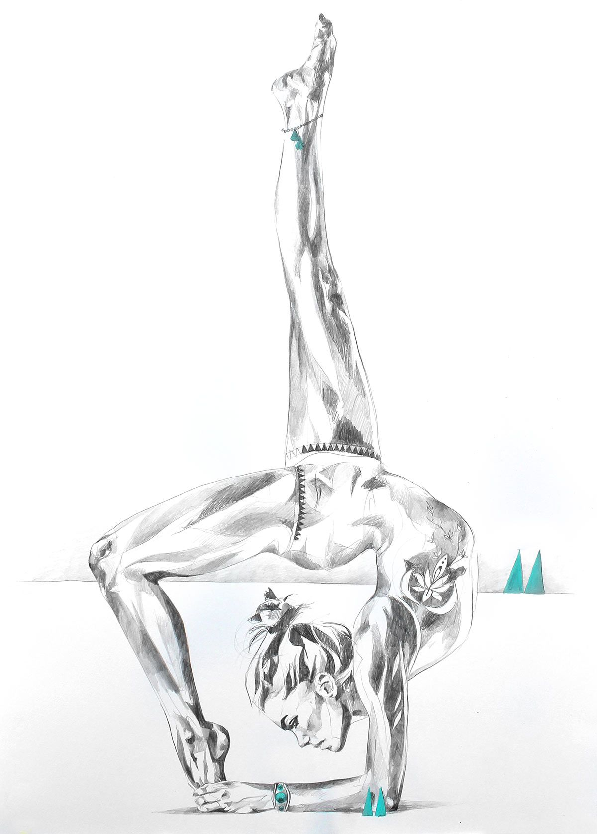 Temple of the sun strong yoga backbend drawing in pencil with inner peace by hannah adamaszek online shop and gallery