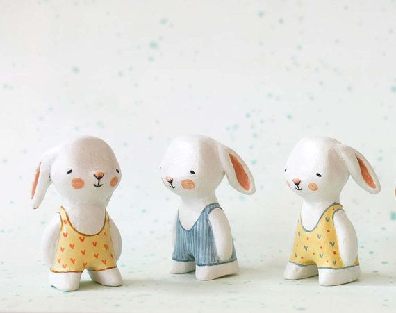 Toys / SALE Miniature bunny - Swimmer rabbit - paper clay