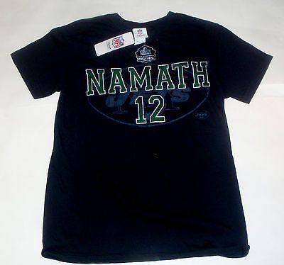 New NWT Joe Namath #12 NFL New York NY Jets Black Large NFL HOF T-Shirt
