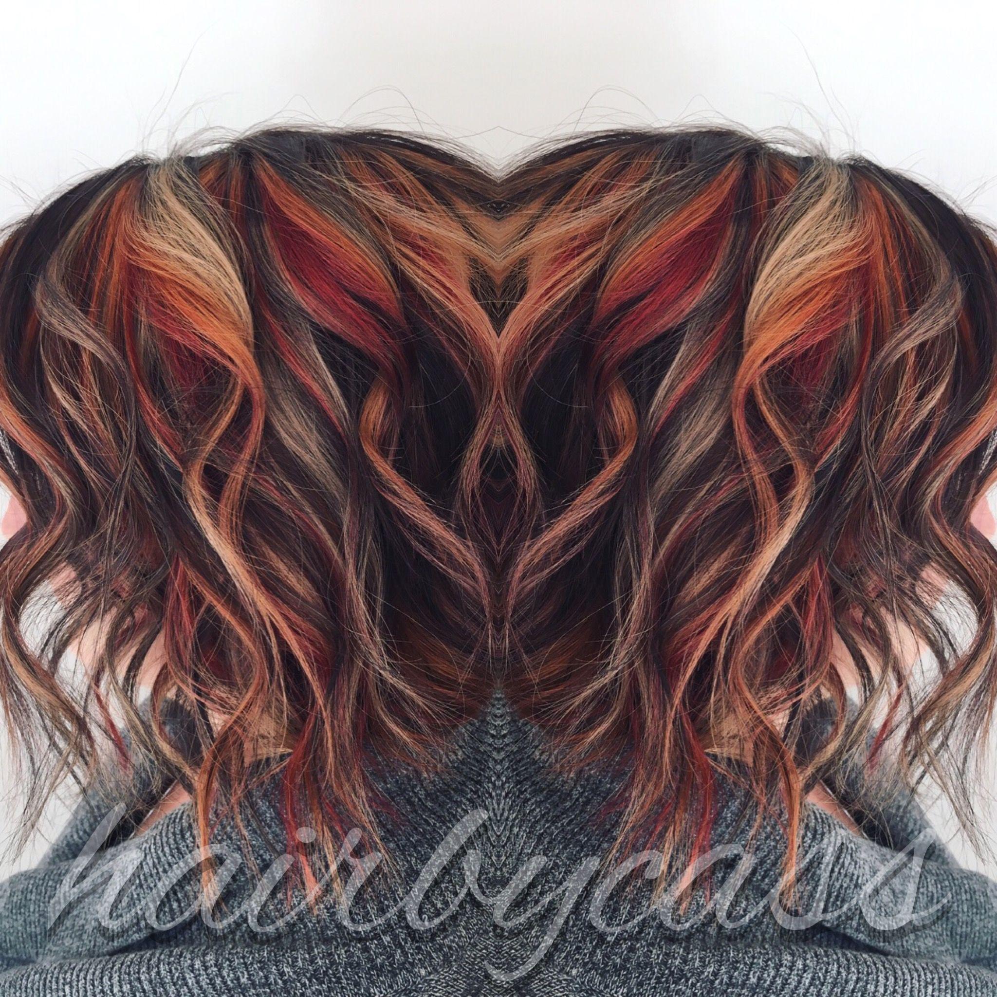 Dark Brown Base With Red Orange And Blonde Highlights Orange