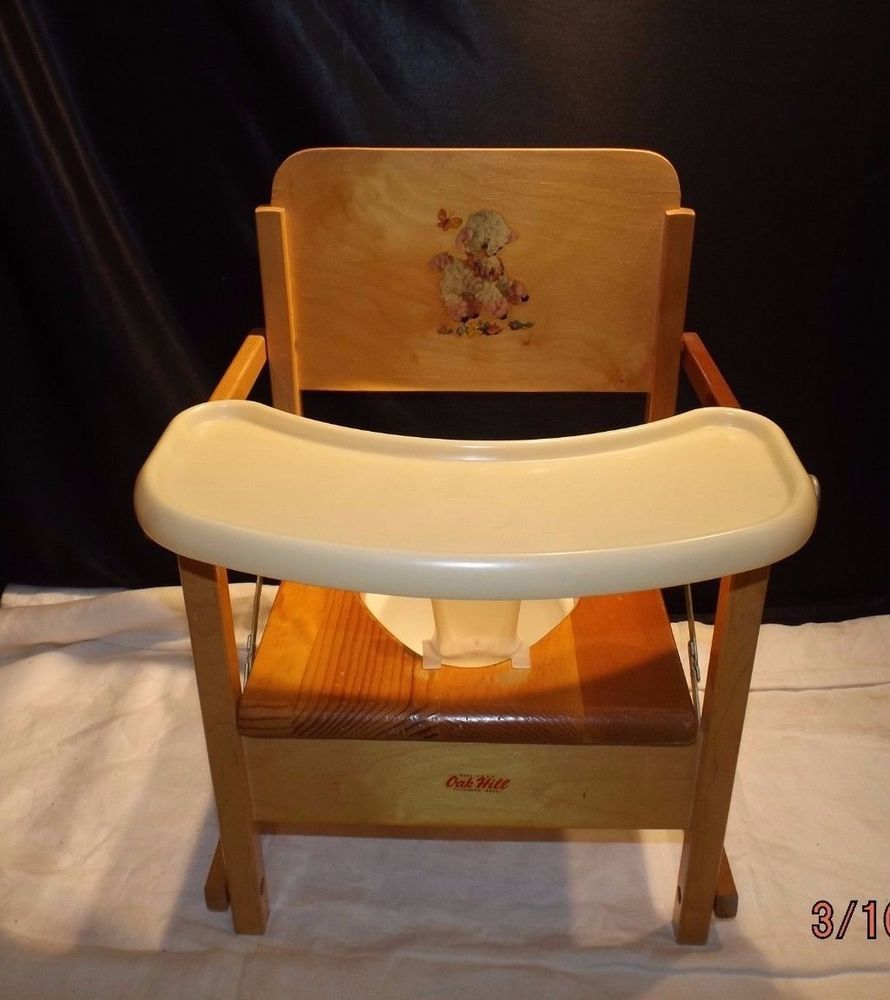 VINTAGE OAK HILL CHILDS WOODEN POTTY CHAIR WITH TRAY OAKHILL