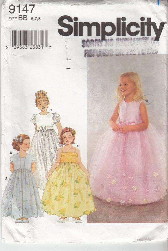 Flower Girl Dress Pattern Jacket Full Skirt Spaghetti Straps ...