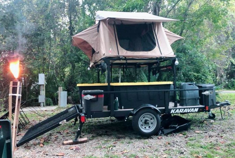 This Is Shane S Diy No Weld Utility Trailer Rack Setup As A Nice Elevated Platform For His Roof Top Tent He Attac Camping Trailer Utility Trailer Tent Trailer