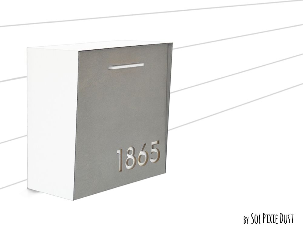 Modern Mailbox With Concrete Face Pure White Aluminum Body And White Acrylic Custom Modern Mailbox Wall Mounted Mailbox Type 1 Modern Mailbox Wall Mount Mailbox Custom Wall