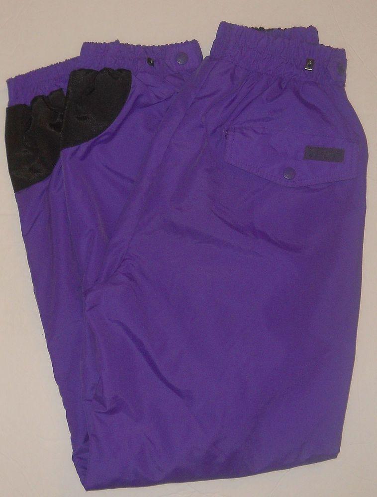 Columbia Purple Nylon Ski Pants Women M Pull On Elastic Waist Ankles Vintage #Columbia #skipants