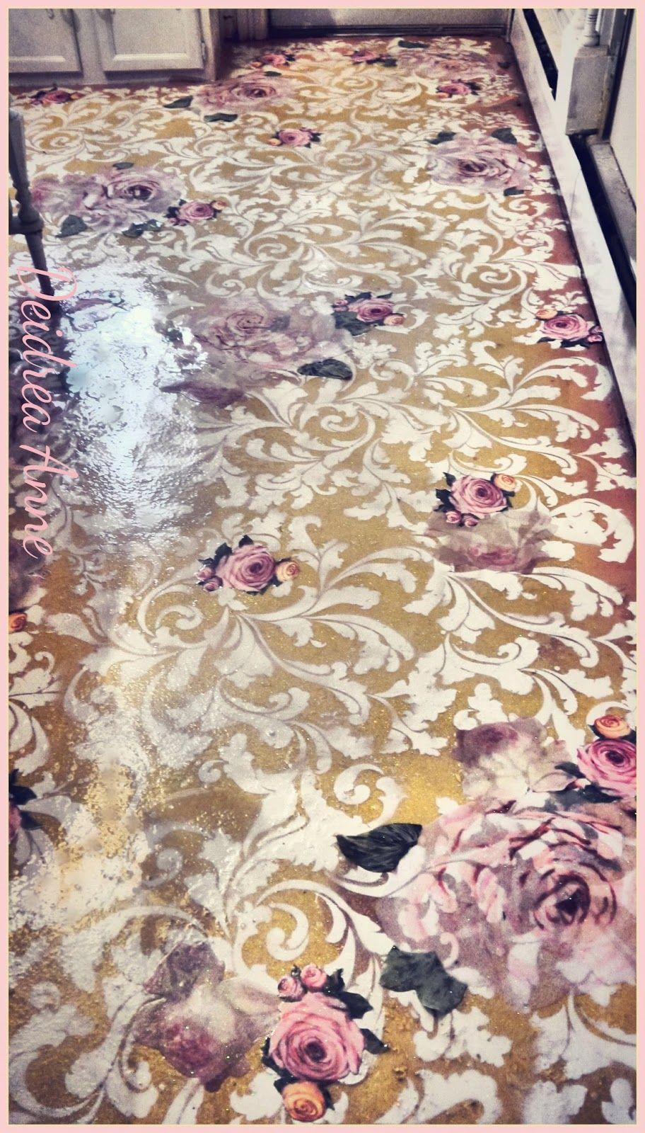 Kitchen Linoleum Flooring Reloved Stenciled Decoupaged Glitter Floorthis Was Icky Vinyl