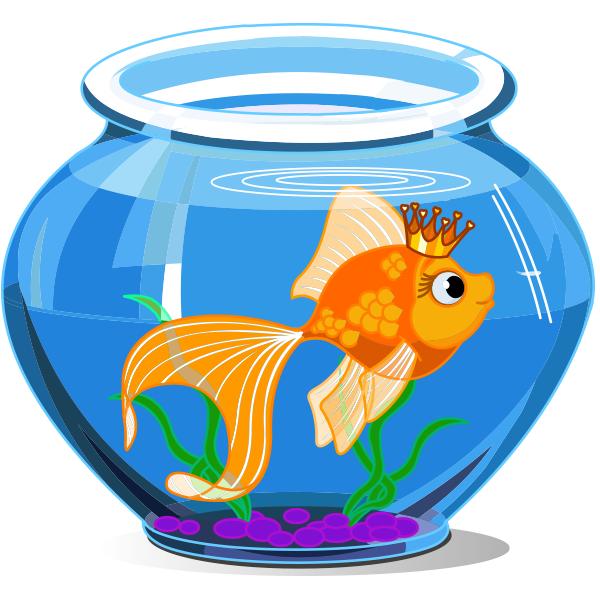 This Crown Wearing Fish Is Fishbowl Royalty Fish Tank Drawing Goldfish Tank Drawing