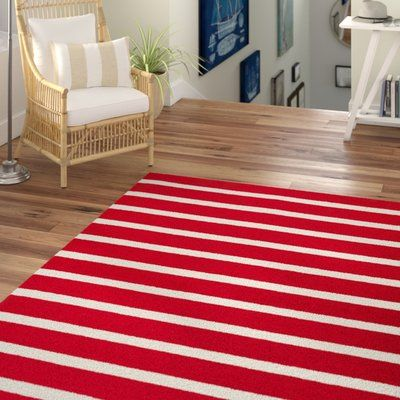 Beachcrest Home Lyndon Hand Tufted Red White Indoor Outdoor Area