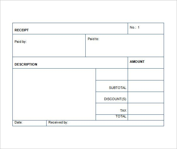 Receipt Template Download Exce