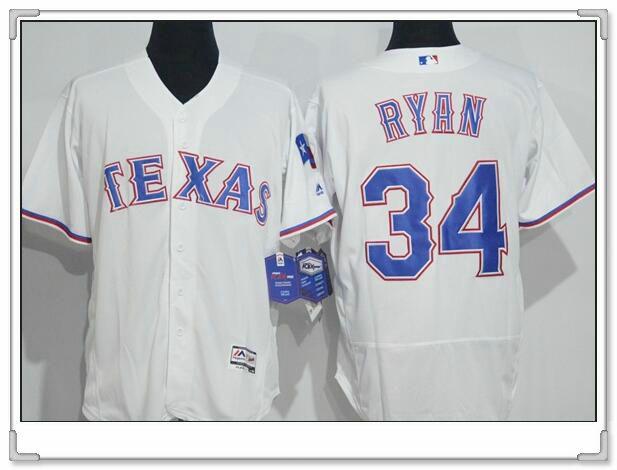 Men s Texas Rangers  34 Nolan Ryan Retired White Stitched MLB 2016 Majestic  Flex Base Jersey 24ea19b53