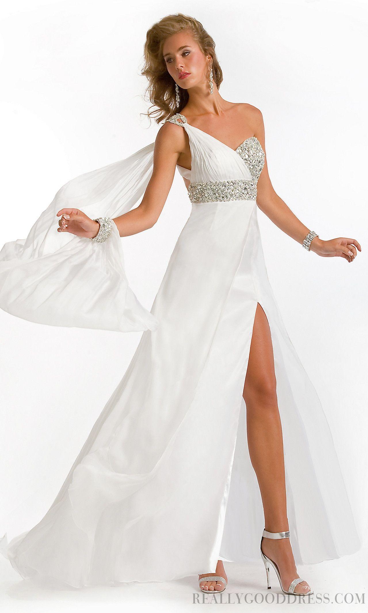 Formal aline one shoulder floorlength chiffon evening dresses