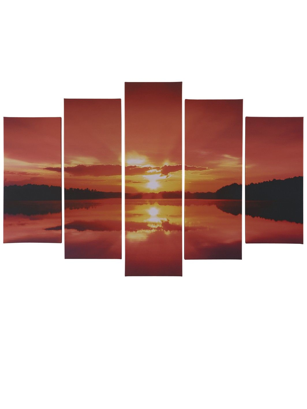 Blue reflections - 4 panel - Stretched Canvas Print. http://www ... - 5-piece Sunset Split Canvas Wall Art | very.co.uk