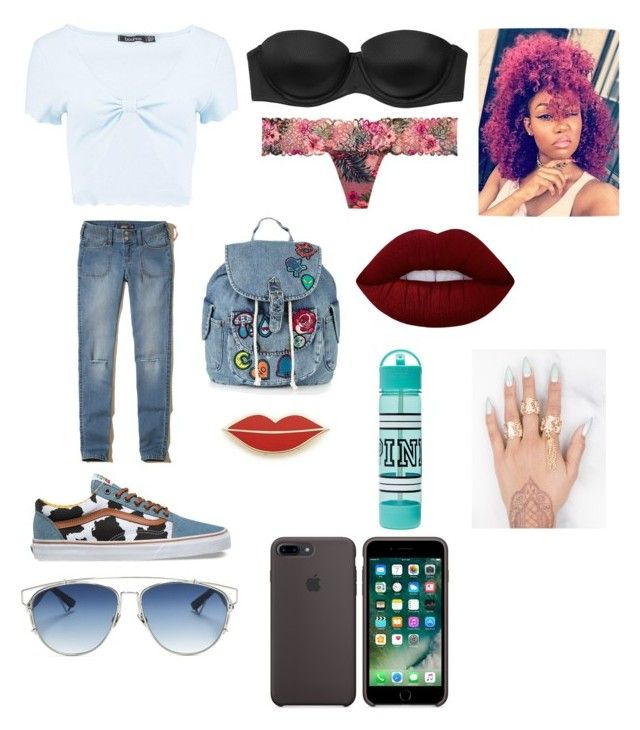 """😂😅"" by okunicorn on Polyvore featuring Boohoo, Hollister Co., Vans, Topshop, Victoria's Secret, Christian Dior, Georgia Perry and Lime Crime"