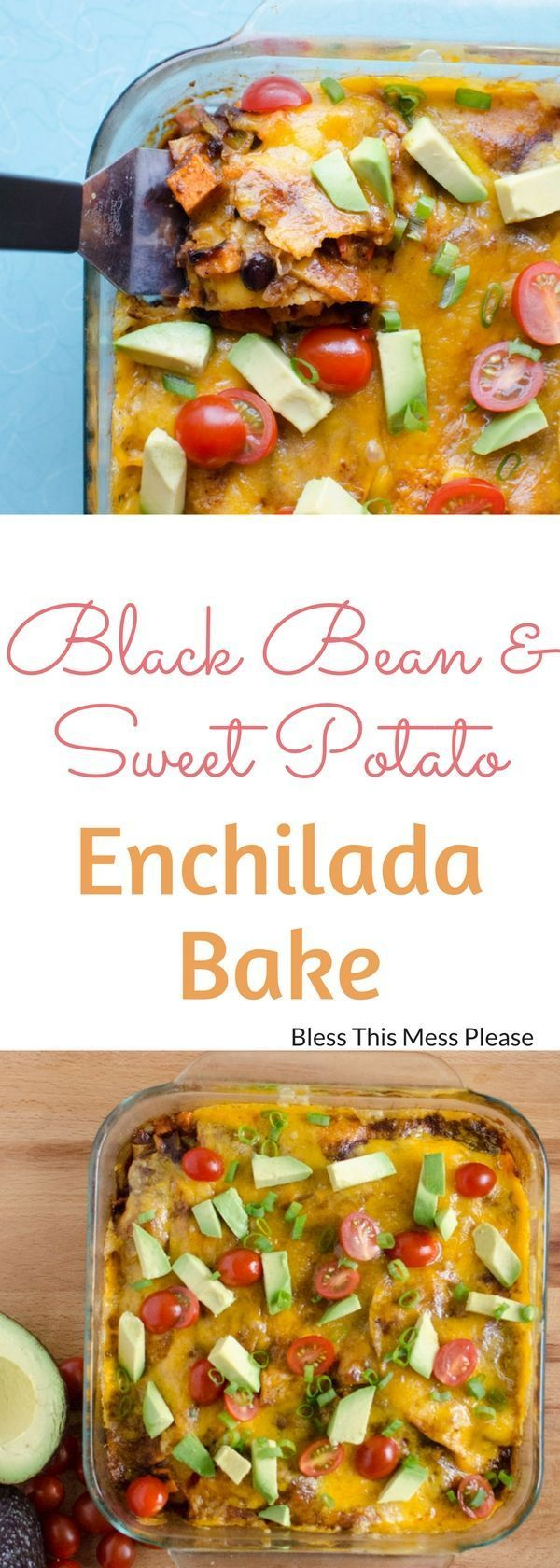 Black Bean and Sweet Potato Enchilada Bake ~ Roasted sweet potatoes, onion, and bell peppers add a smokey flavor to this delicious enchilada bake. Quick, healthy, and gluten free!