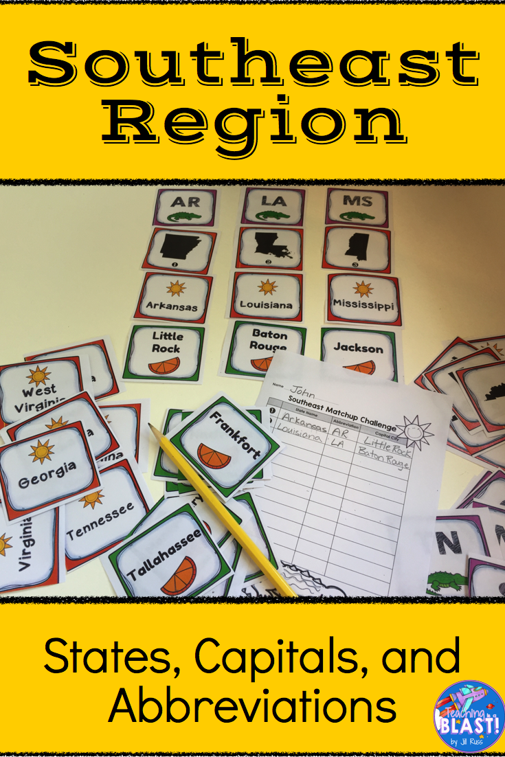 Southeast Region States and Capitals Task Cards States