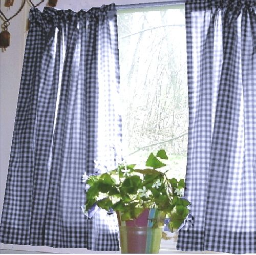 Dark Royal Blue Gingham Kitchen/Café Curtain (unlined Or With White Or  Blackout Lining