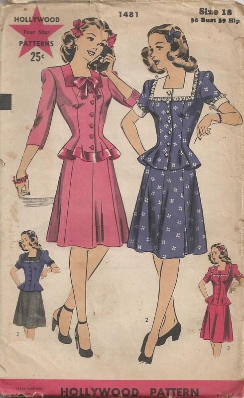 1944 Ladie S Two Piece Dress With Square Neckline And Etsy Vintage Clothes Patterns Vintage Dress Patterns Retro Fashion