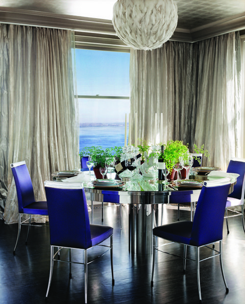 Colorful but elegant dining room (Gallo-Boisset SF Home in C Magazine)