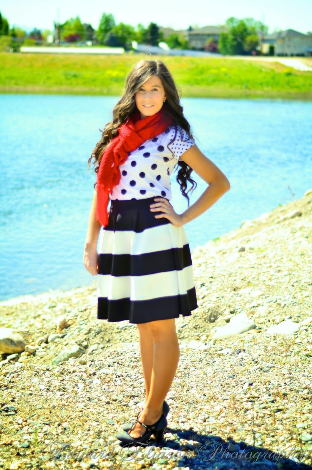 Polka Dot's and Stripes! (striped flared skirt, a line skirt, polka dots and stripes, outfit, preppy, preppy style,)