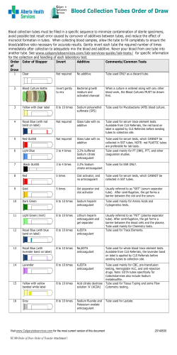 BD Vacutainer Venous Blood Collection Tube Guide - Wall Chart