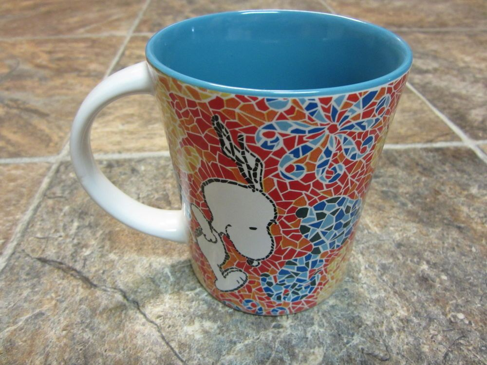 New Snoopy Jumping Mosaic Tile Coffee Mug, Large Blue