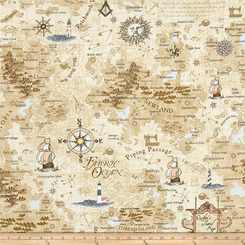 Timeless Treasures On The Go Map Map from @fabricdotcom  Designed by Debra Gabel for Timeless Treasures, this cotton print fabric explores the fabric world, sailing through the Fabric Ocean and landing on Thread Island. Perfect for quilting, apparel and home decor accents. Colors include cream, white, taupe, shades of brown and grey, pale yellow, peach, coral, orange and shades of blue.