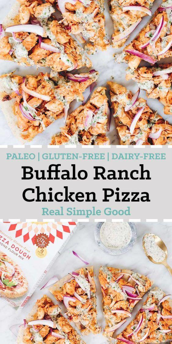 Buffalo Ranch Chicken Pizza (Paleo, GF + Dairy-Free)