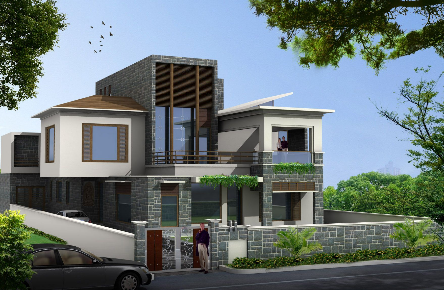 brilliant idea exterior house design with natural stone also white ...
