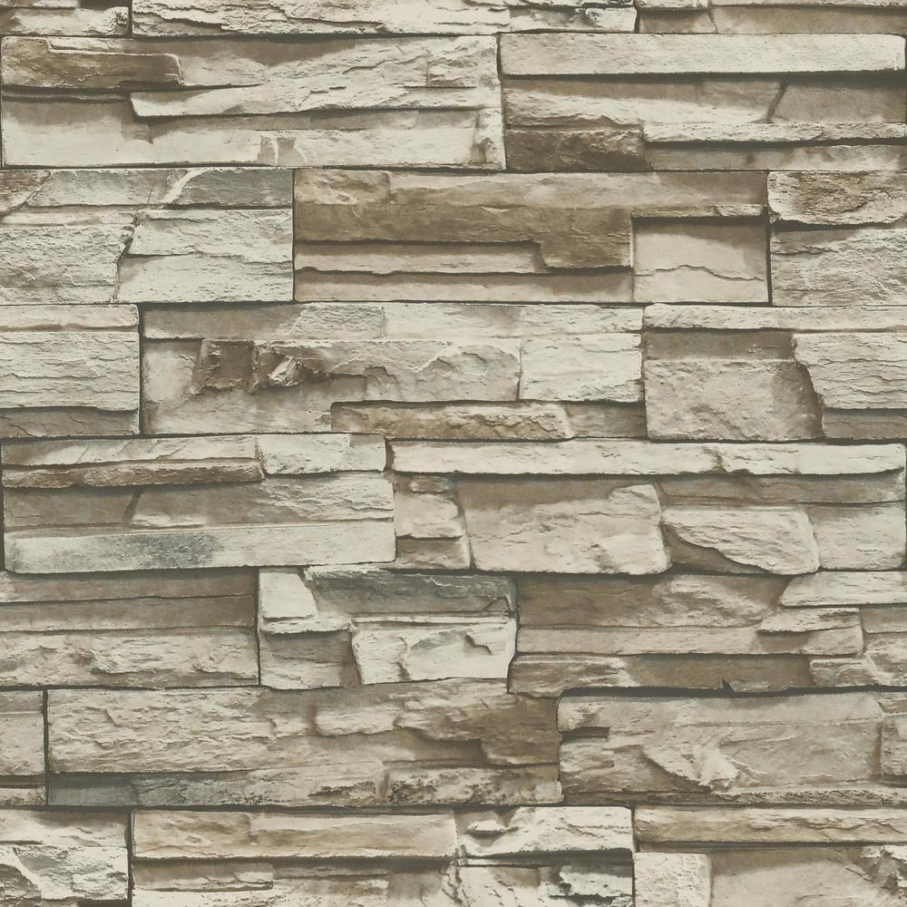 Roommates Brown Stacked Stone Vinyl Peelable Roll Covers 28 18 Sq Ft Rmk9025wp The Home Depot In 2021 Nuwallpaper Slate Wallpaper Peel And Stick Tile