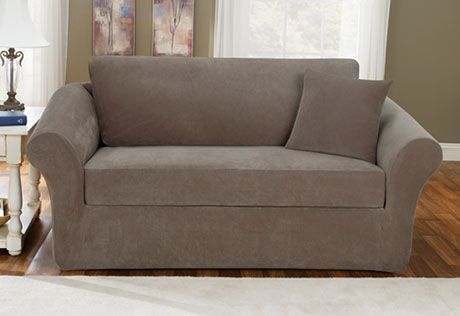 Stretch Pique Three Piece With Back Cushion Chair Slipcover For