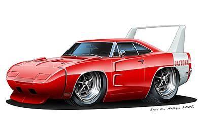 1969 Dodge Daytona Charger Muscle Car Cartoon Tshirt Car Toons