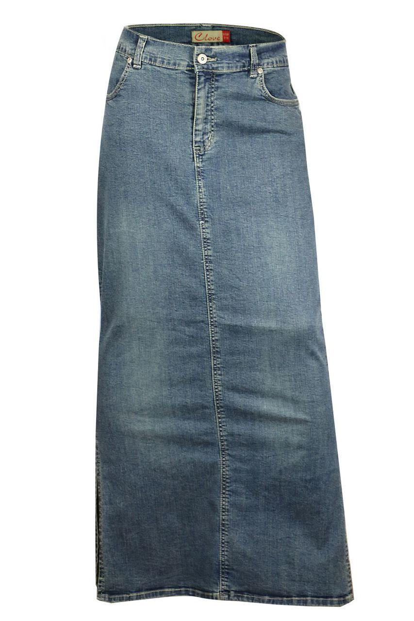 74f1dabc1 Clove Long Tall Ankle Length Maxi Stretch Denim Pencil Skirt Plusize ...