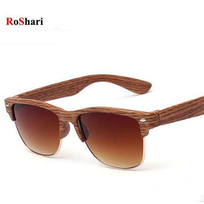 bc3b91aa0cff12 Tendance   Tendance lunettes   RoShari Half Wood men sunglasses women brand  designer Vintage Rivet brown go
