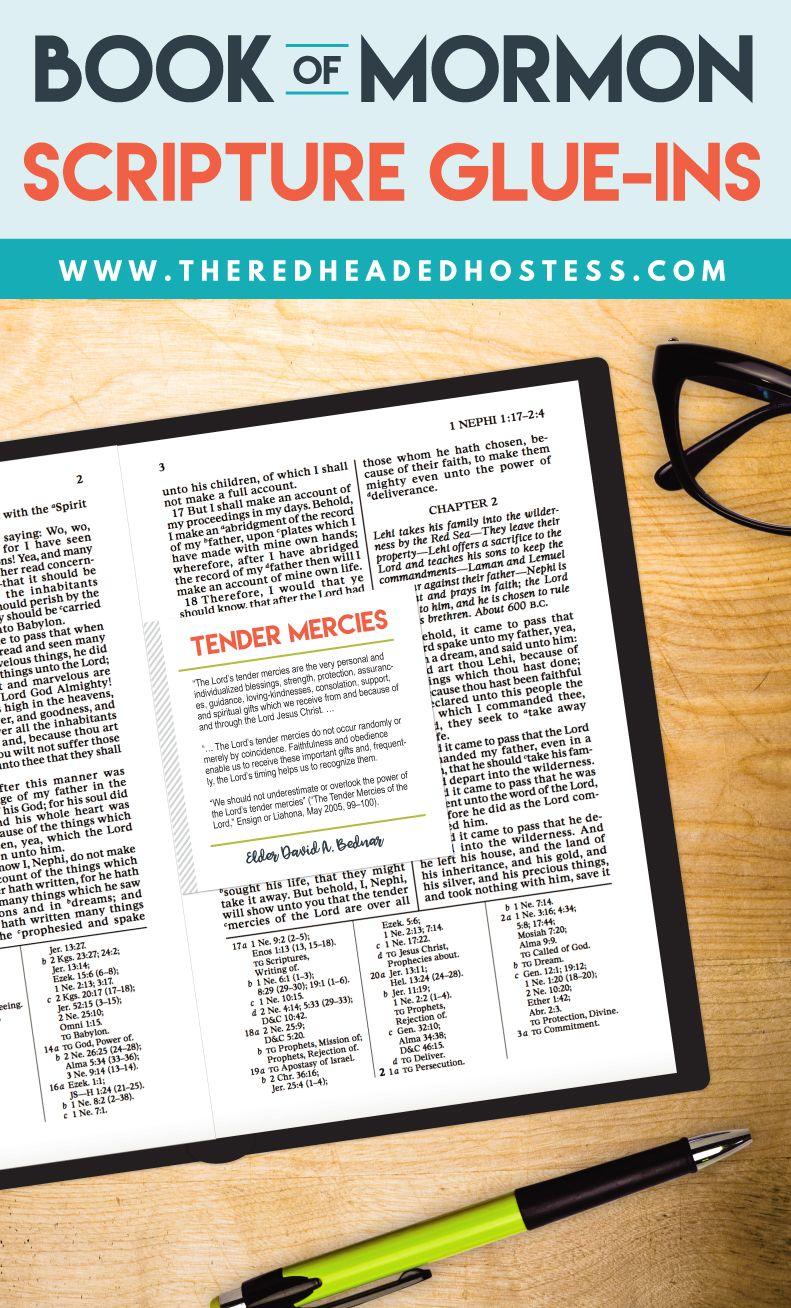 Book of Mormon glue-ins. FREE! www.theredheadedhostess.com