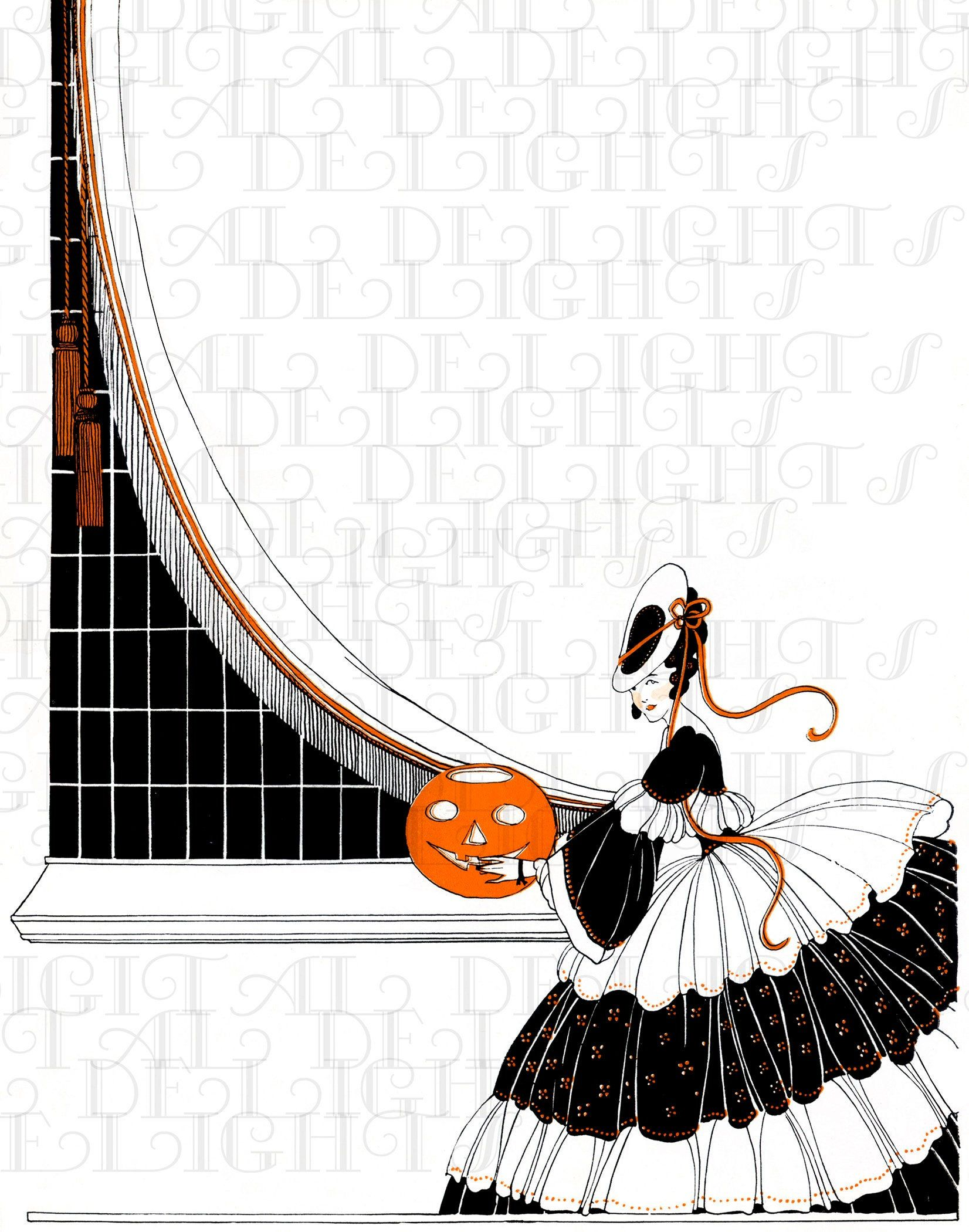 Clip Music From Halloween 2020 Pretty FLAPPER Vintage Halloween Illustration. Vintage Halloween