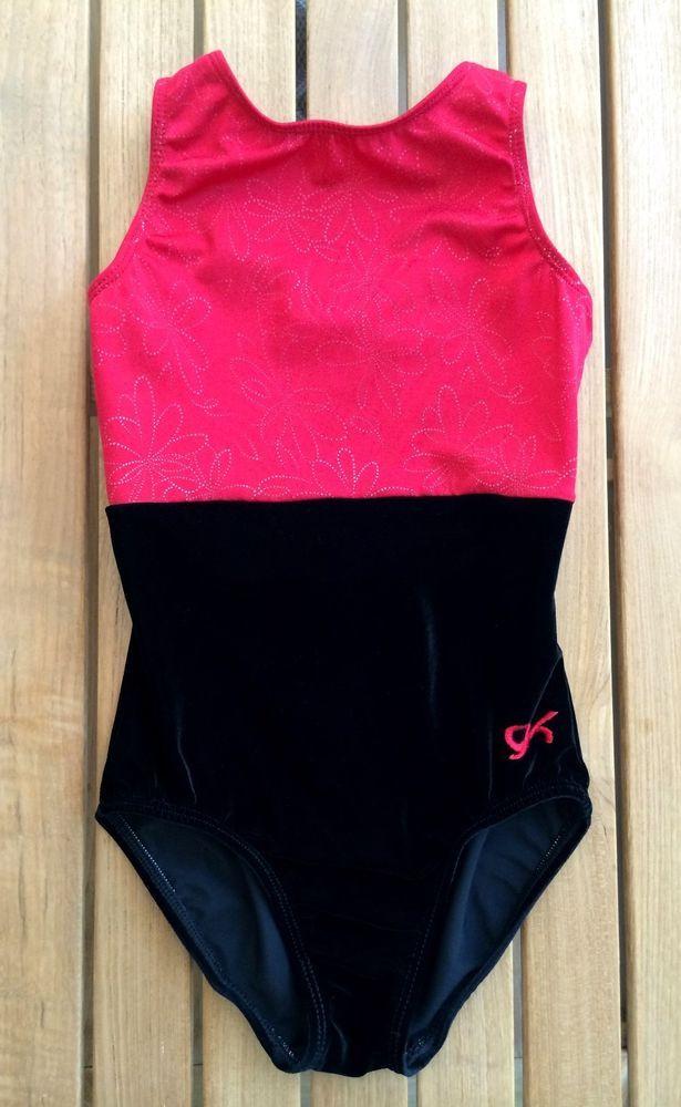 5107d0103 GK Elite Gymnastics Leotard CL Child Large L Red Shimmer Black ...