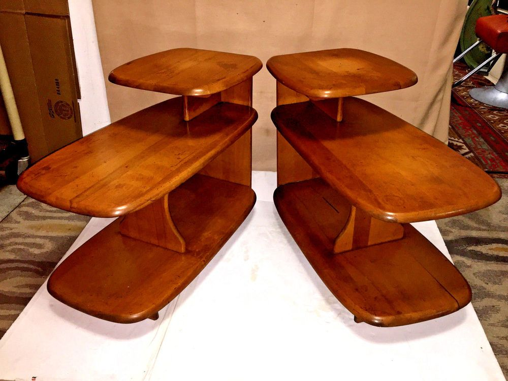 One Heywood Wakefield 3 Tier End Table Shelf C3753 1940s Mid Century Modern Afflink Antique Table Table Table Shelves