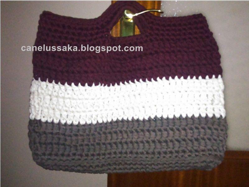 Mi primer bolso realizado a trapillo crochet ganchillo for Bolso crochet trapillo
