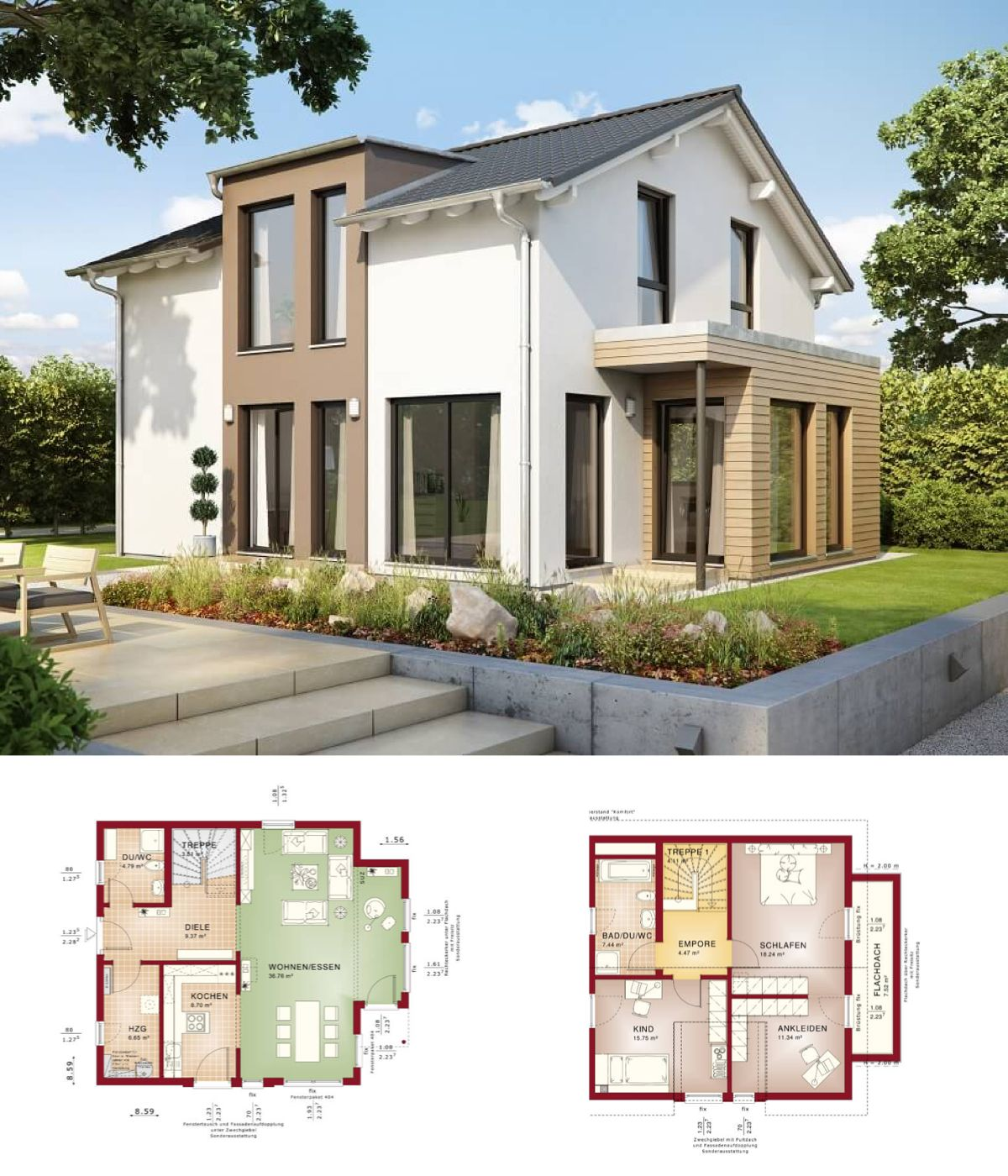 EINFAMILIENHAUS modern Haus Solution 125 v7 Living Haus