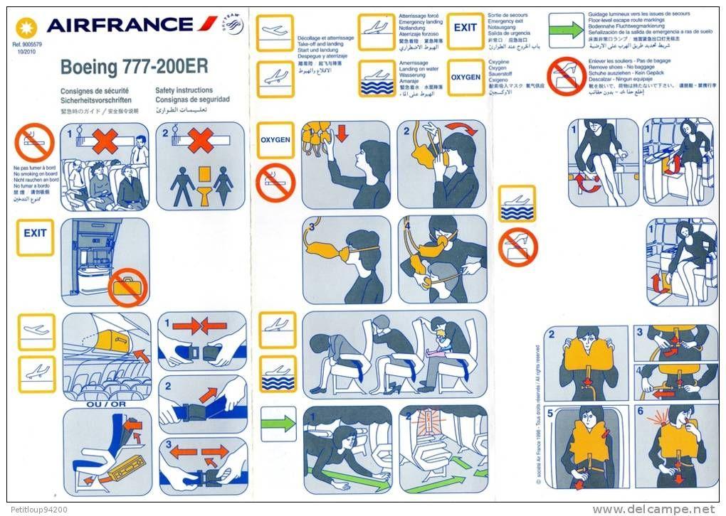 Consignes de securite safety card boeing 777 200er air france manual - Black friday ikea france ...