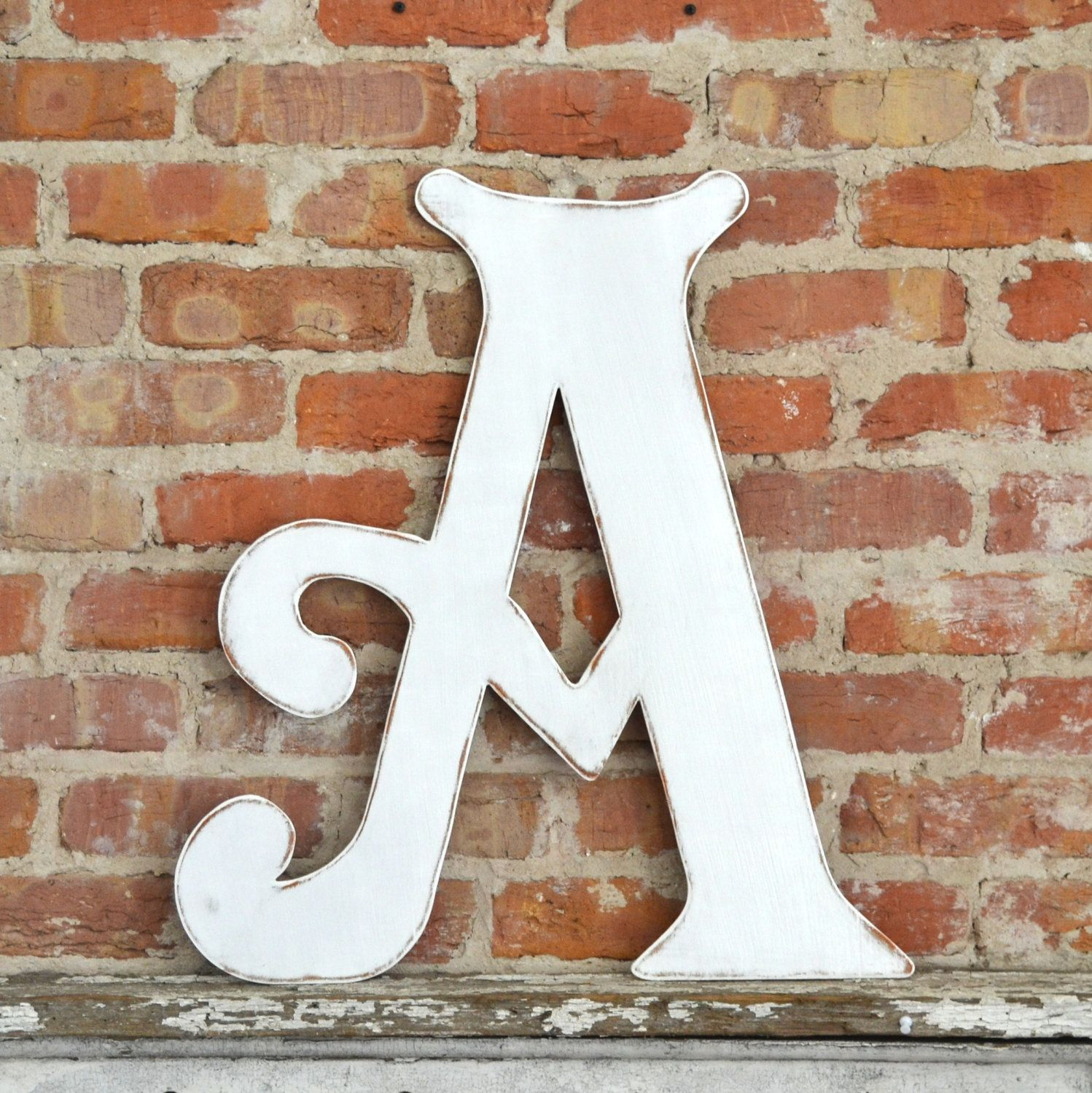 24 wooden letter a distressed white elegant font all letters colors available