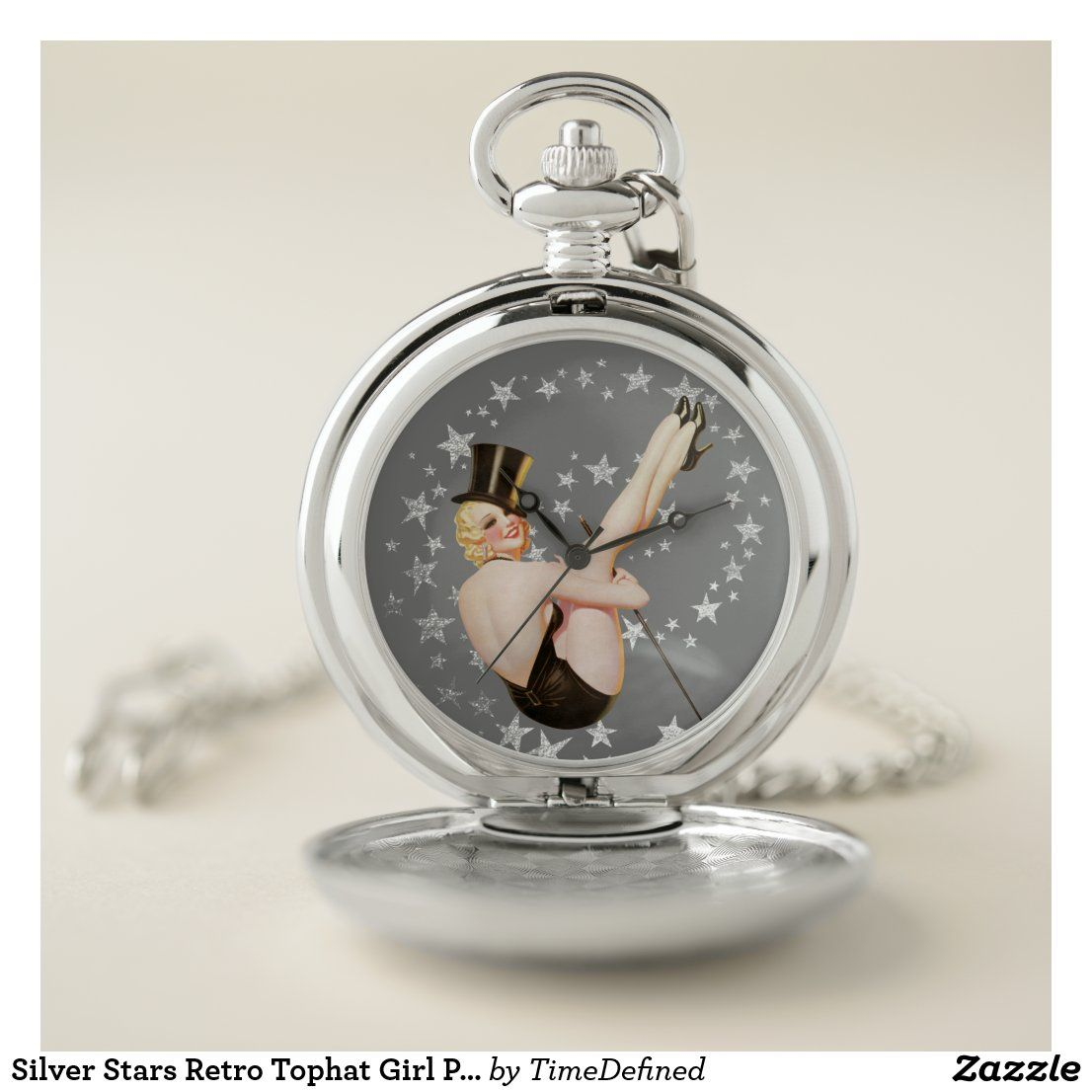 Silver Stars Retro Tophat Girl Pinup Pocket Watch - #pocketwatch #pinup #stars #giftforhim