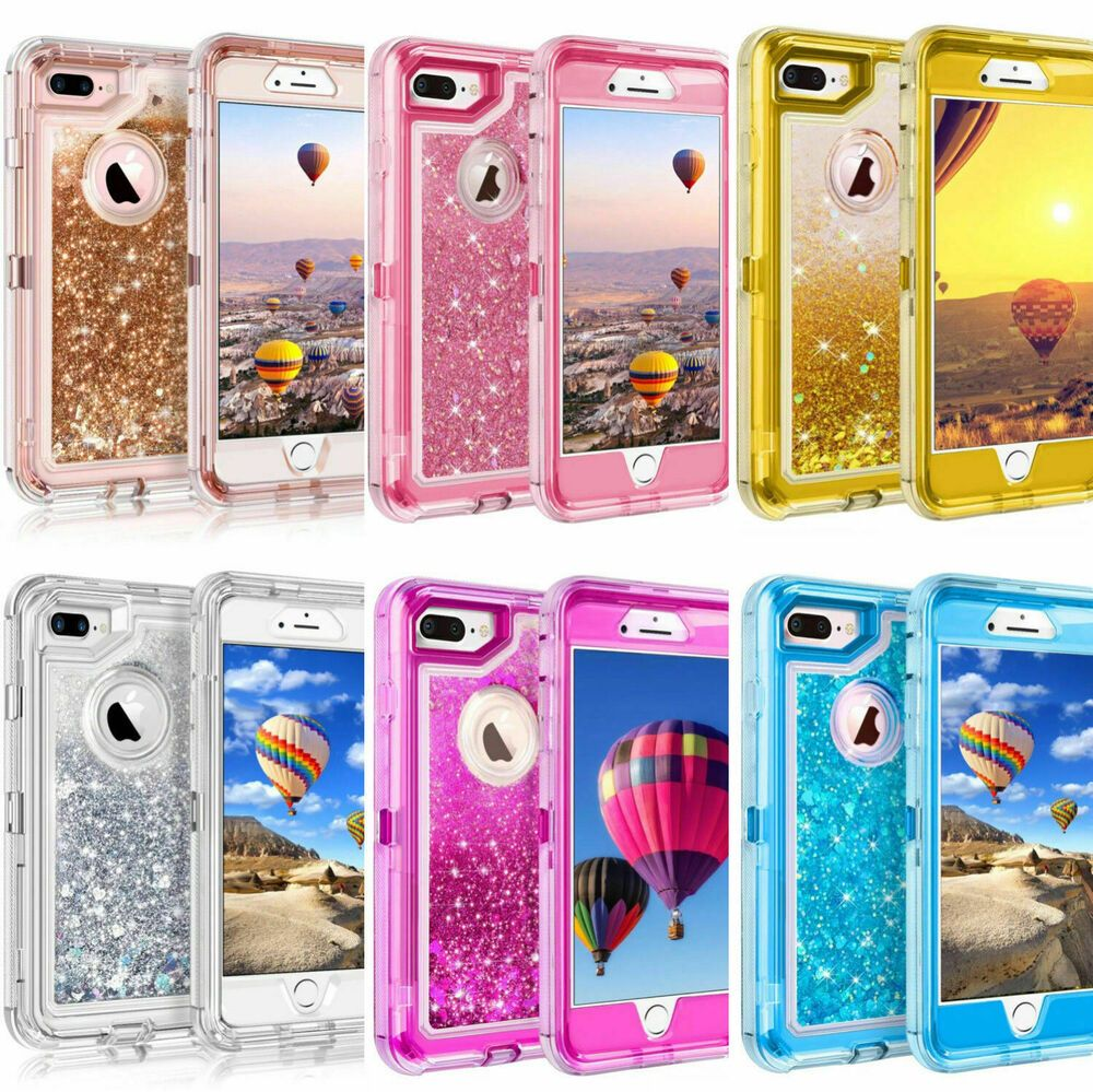 Glitter Liquid Defender Case For iPhone 6 6S 7 8 (Clip Fits