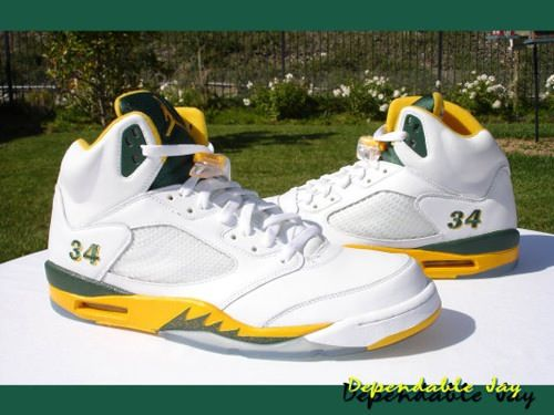 size 40 ac43a fe623 Air Jordan 5 Seattle Supersonics Home Ray Allen PE