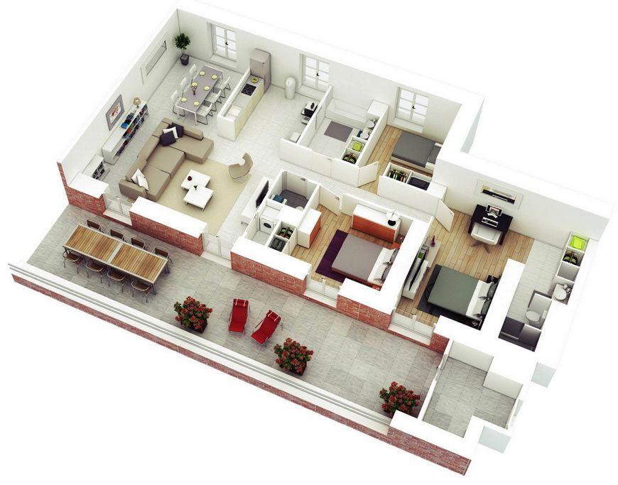 25 more 3 bedroom 3d floor plans 17 Interior sketch designs