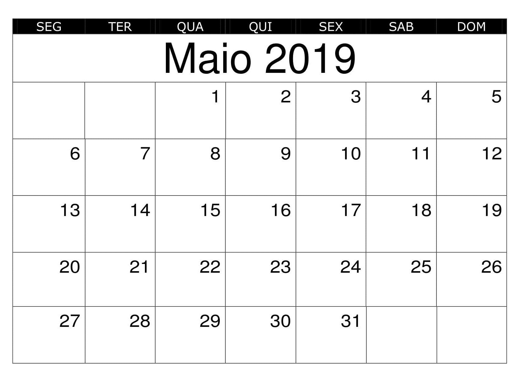 Calendario Word 2019.Calendario Maio Para Imprimir Word 2019 Calendario Maio 2019 Para